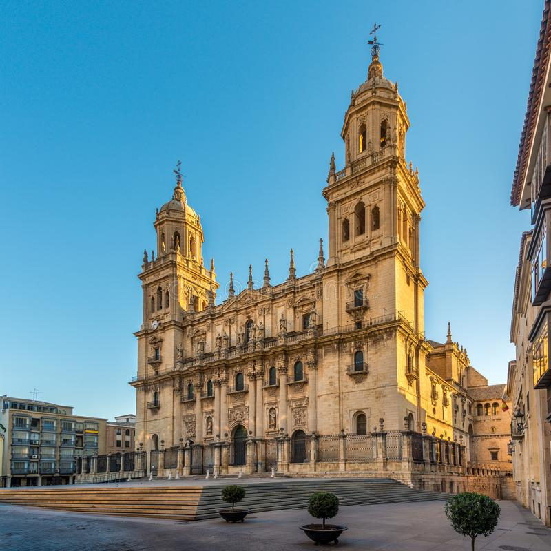 View at the Cathedral of Jaen at the Santa Maria place, Spain royalty free stock images