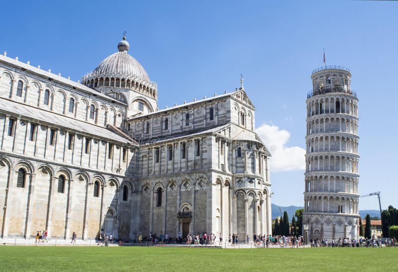 View of the cathedral and Leaning Tower of Pisa in the Square of Miracles. stock image