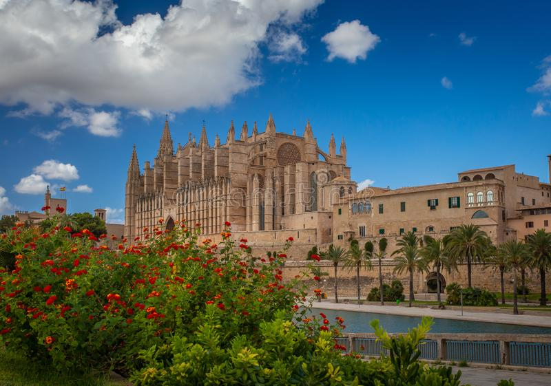 View on the cathedral of Palma. Palma de Mallorca. Spain. Beautiful view on the cathedral of Palma. Palma de Mallorca. Spain stock photo