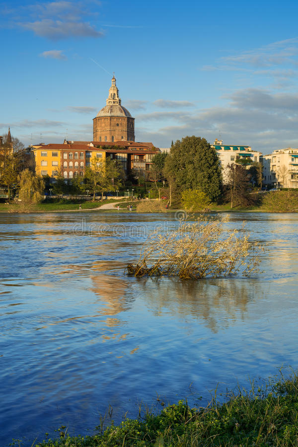 View of the Cathedral of Pavia from Ticino royalty free stock images