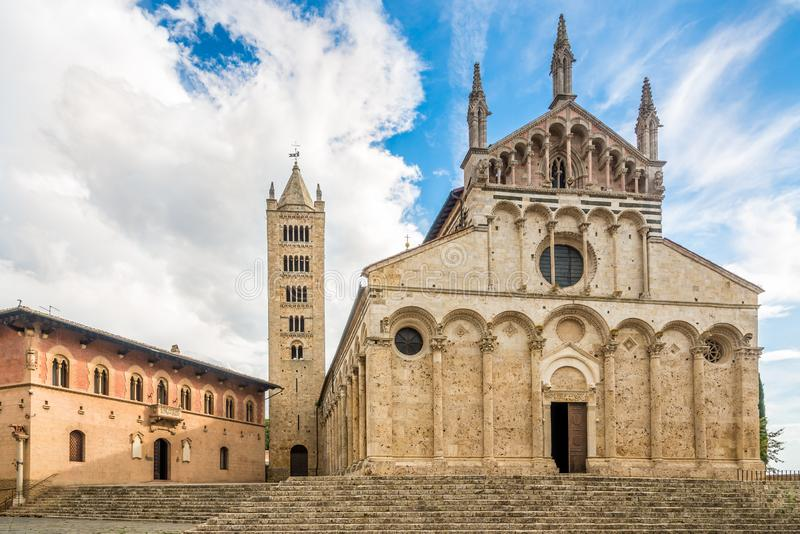 View at the Cathedral of Saint Cerbonius in Massa Marittima - Italy royalty free stock photos