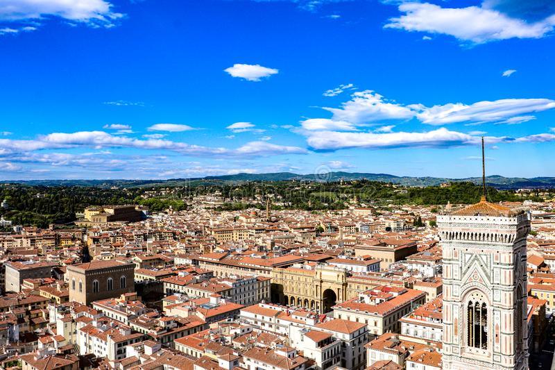 Florence, Italy as viewed from the Cathedral of Santa Maria del Fiore capturing Giotto`s Bell Tower in Florence, Italy. View from the Cathedral of Santa Maria stock images