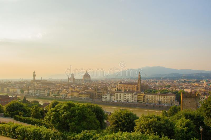 View of the Cathedral of Santa Maria del Fiore Duomo, Basilica of Santa Croce, and Arnolfo tower of Palazzo Vecchio. royalty free stock image