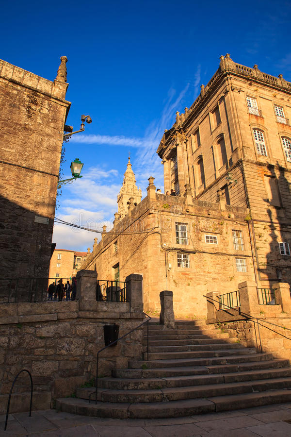 View of the cathedral of Santiago. De Compostela, Spain stock photo