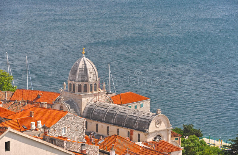 A view of the Cathedral of St. James in Sibenik, Croatia royalty free stock image