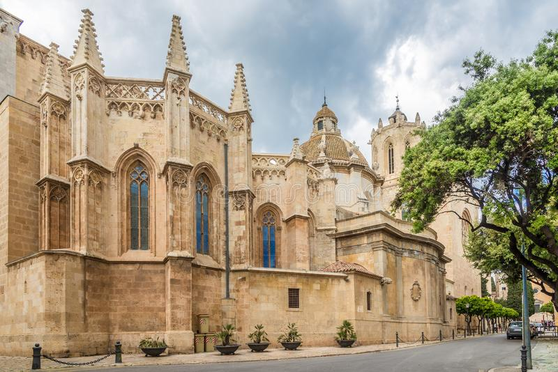 View at the Cathedral in the streets of Tarragona in Spain royalty free stock images