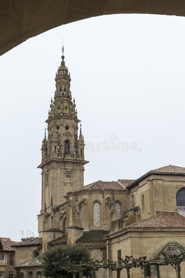 View of the cathedral tower in Santo Domingo de la Calzada, Rioja, Spain. View through an arch of the cathedral tower in Santo Domingo de la Calzada, Rioja stock photos
