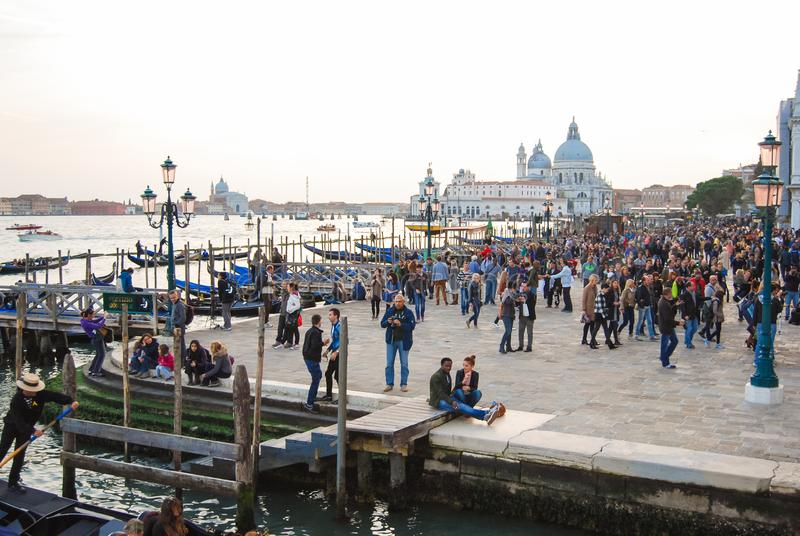 Santa Maria della Salute church in the center of Venice. View of catholic church of the seventeenth century in Punta of Dogana area stock photography