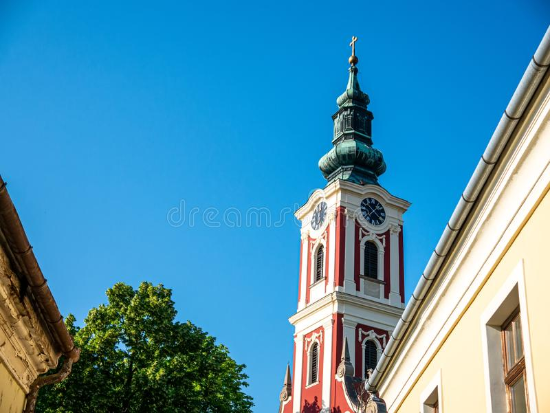 View on a catholic church on a sunny day in Szentendre royalty free stock images