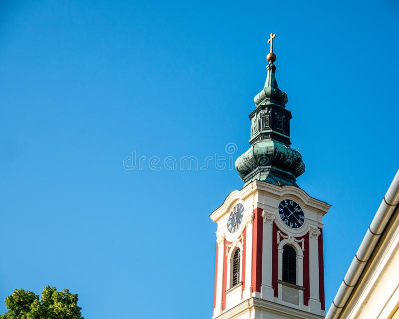 View on a catholic church on a sunny day in Szentendre royalty free stock photos