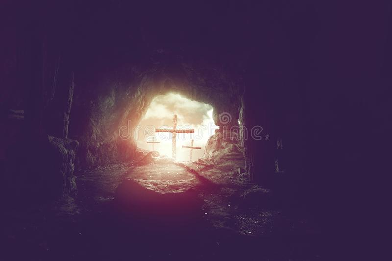 View from cave of three crosses on hill of calvary, resurrection of easter concept stock photo