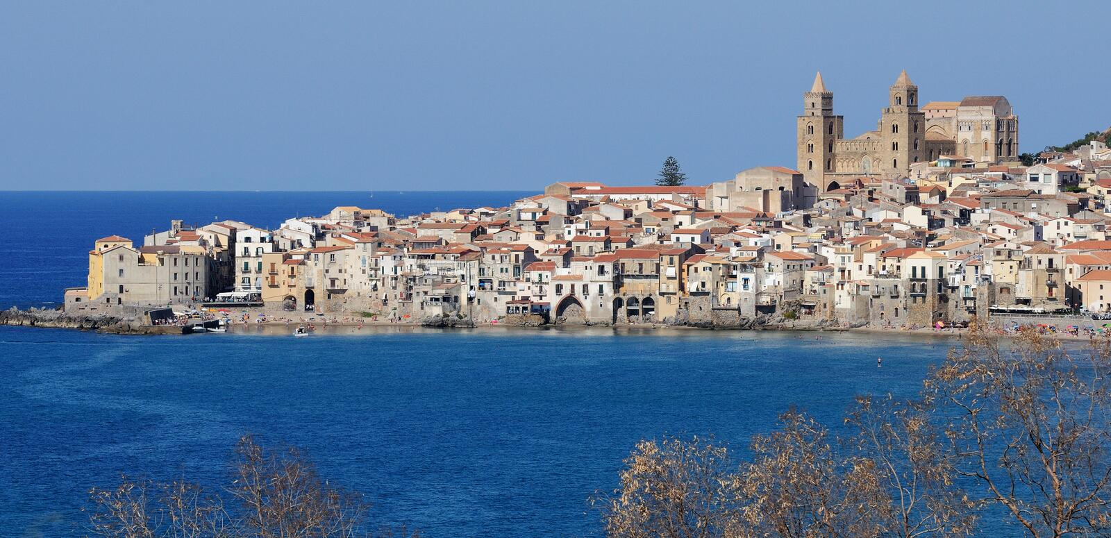 View of Cefalu, Northern Sicily. Panorama of the town of Cefalu on the Northern coast of Sicily stock image
