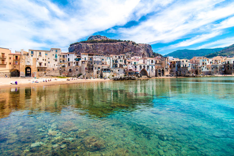 View of cefalu, town on the sea in Sicily, Italy. Beautiful view of cefalu, little town on the sea in Sicily, Italy royalty free stock images