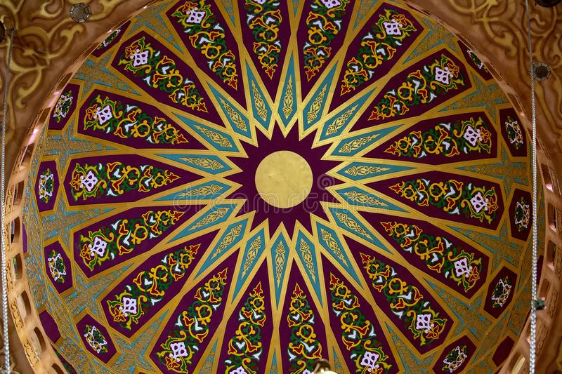 View of ceiling and decorations of mosques dome in Sharm El Sheikh, South Sinai, Egypt. Al Sahaba Mosque in the old city market in Sharm El Sheikh, Egypt royalty free stock image