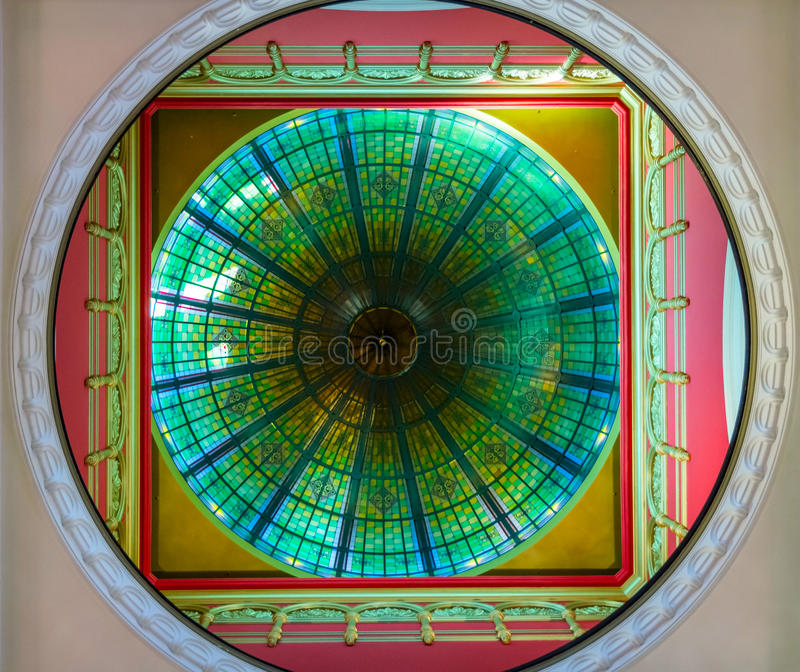View on ceiling ornament in Queen Victoria shopping mall, Sydney royalty free stock image