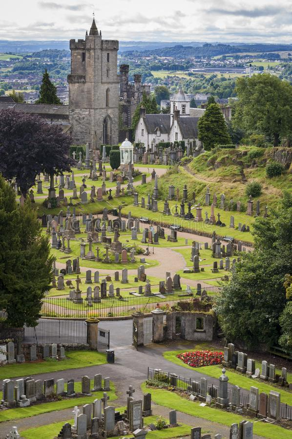 View of the cemetery behind the Church of the Holy Rude, in Stirling, Scotland, United Kingdom. This medieval building, adjacent to Stirling Castle, is the stock photos