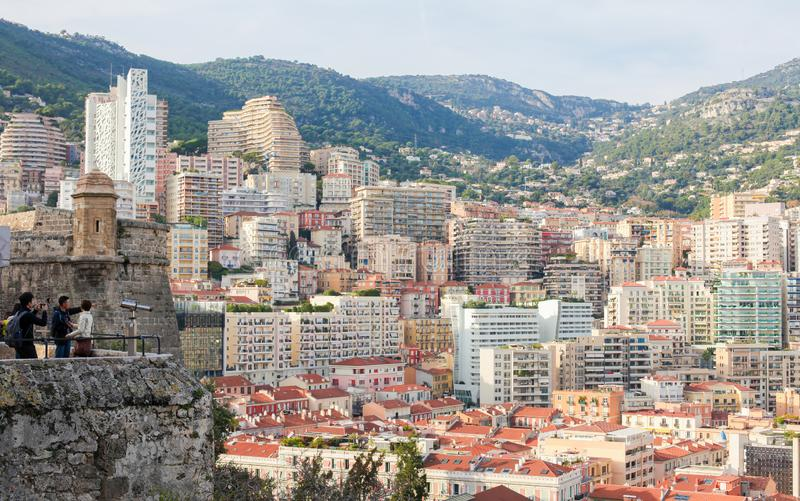 View on the center of Monaco from Le Rocher royalty free stock image