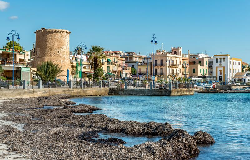 View of center of Mondello, is a small seaside resort near center of city Palermo. Mondello - Palermo, Sicily, Italy - October 9, 2017: View of center of royalty free stock image