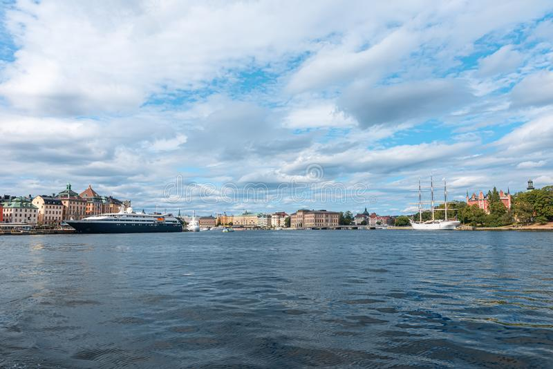View of the center of Stockholm from the gulf royalty free stock photo