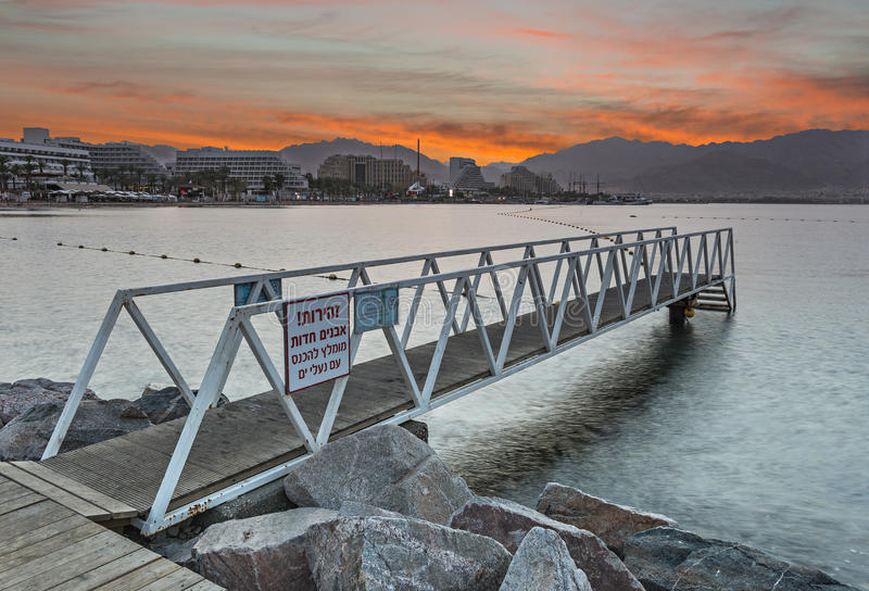 View from central beach of Eilat on the Red Sea stock photos