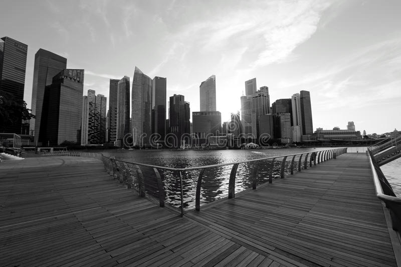 View of the Central Business District skyline from the floating Louis Vuitton store in the Marina Bay Sands Singapore. View of Central Business District skyline royalty free stock photography