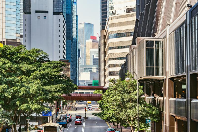 View of the central city street. Hong Kong royalty free stock images