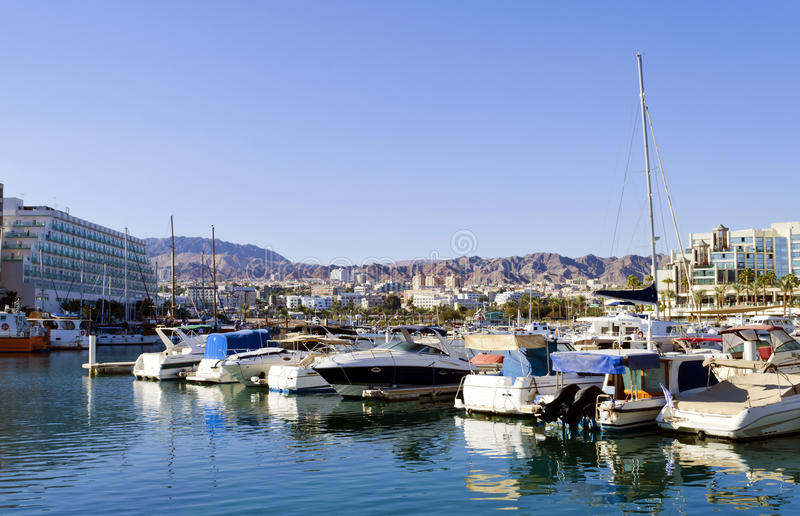 View on central marina in Eilat, Israel. Eilat is a popular resort and recreation city in Israel royalty free stock photo