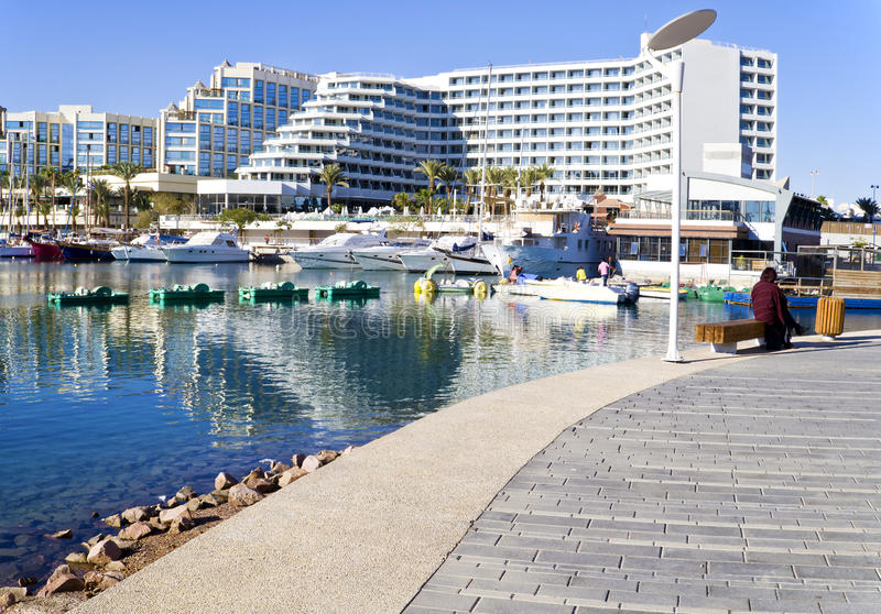View on central marina in Eilat, Israel. Eilat is a popular resort and recreation city in Israel stock photo