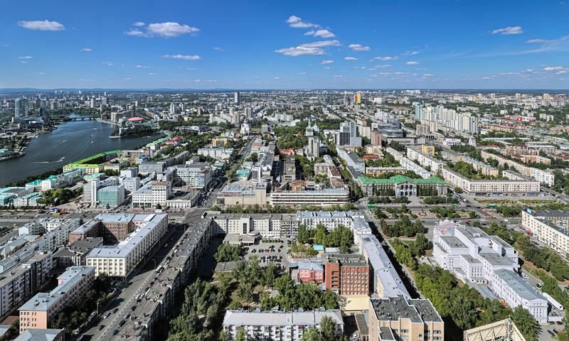 View of the central and northern parts of Yekaterinburg, Russia. View from the observation deck on the 52nd floor of Vysotsky skyscraper at 186 meters above royalty free stock photos