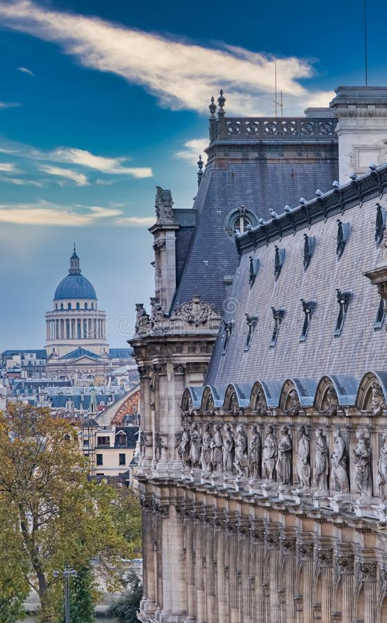 View of central Paris from the city hall, France royalty free stock images