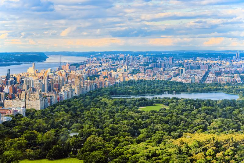 View of Central Park in Manhattan from the skyscraper`s observat. Ion deck. New York. USA royalty free stock photos