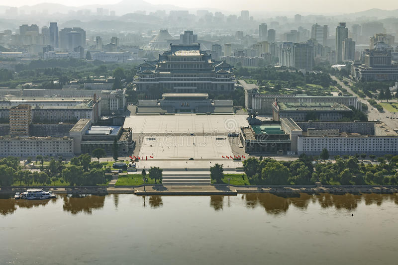 View of the central square of Pyongyang, North Korea.  royalty free stock photo