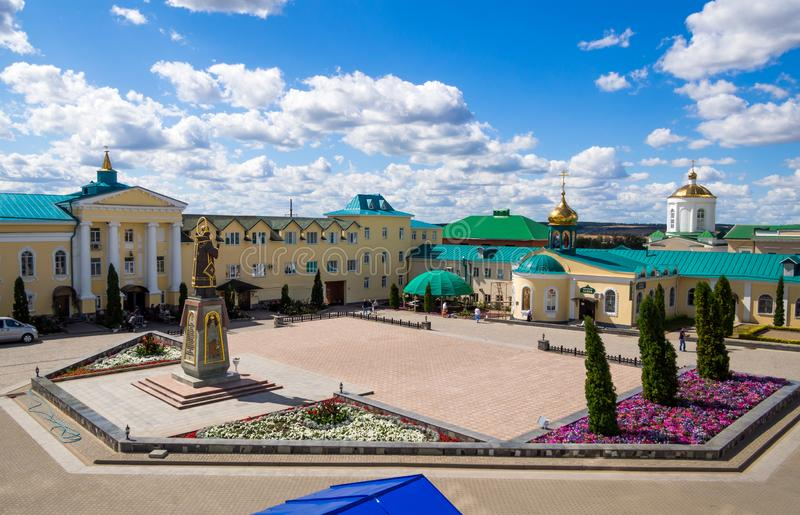 View of the central square of the Zadonsky Bogoroditsky Monastery, Zadonsk stock photos