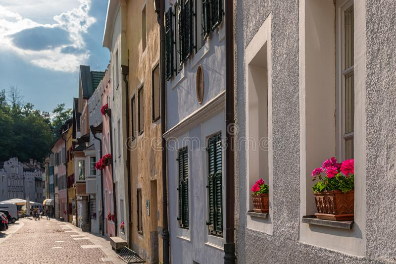 View of the central street of the picturesque Alpine town Bruneck Brunico. Trentino-Alto Adige, Italy stock photo