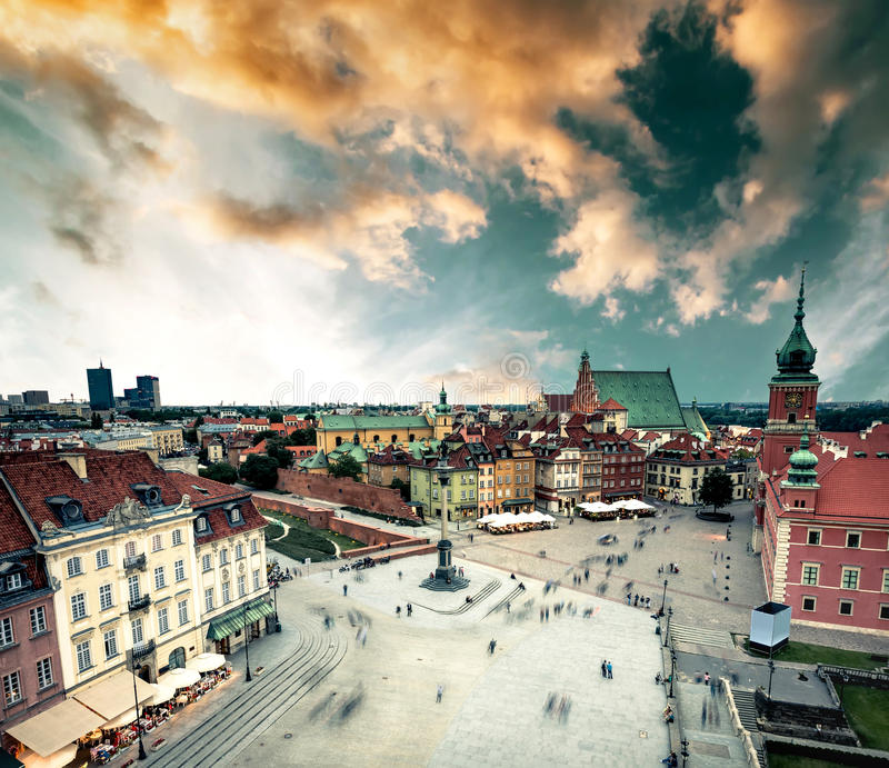 View on the central Warsaw square from town hall. Poland stock image