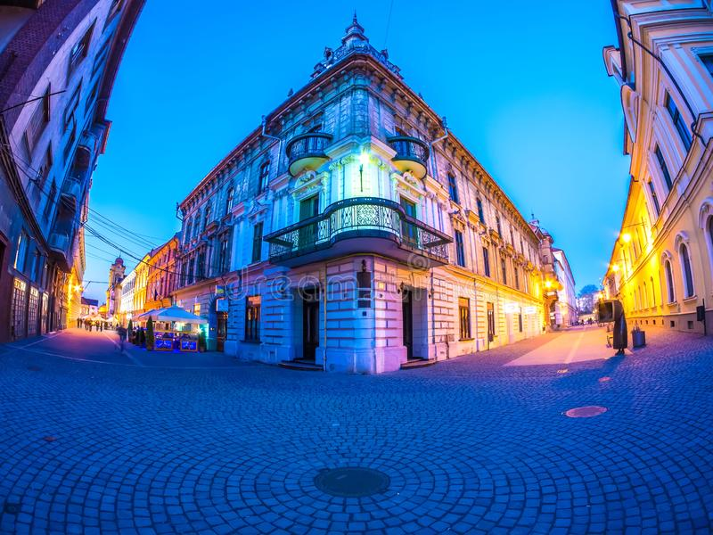 View on the centre of Timisoara at dusk royalty free stock photos