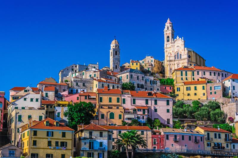 View of Cervo in the province of Imperia, Liguria, Italy. The village of Cervo on the Italian Riviera in the province of Imperia, Liguria, Italy royalty free stock photos