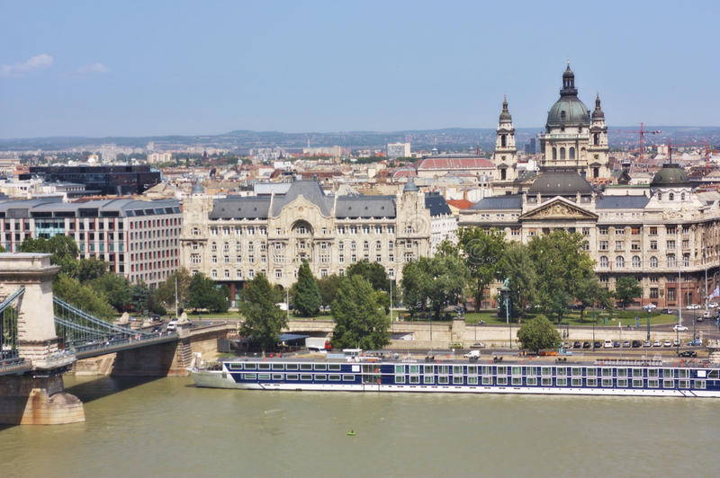 View of a chain bridge and St. Stephen s Basilica
