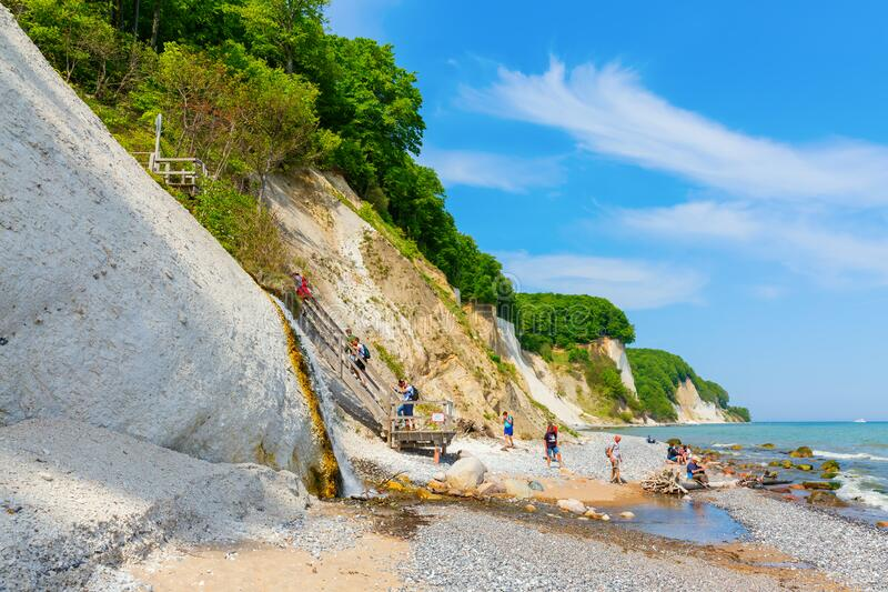 View of the chalk cliffs of Ruegen, Germany, with a waterfall royalty free stock photography