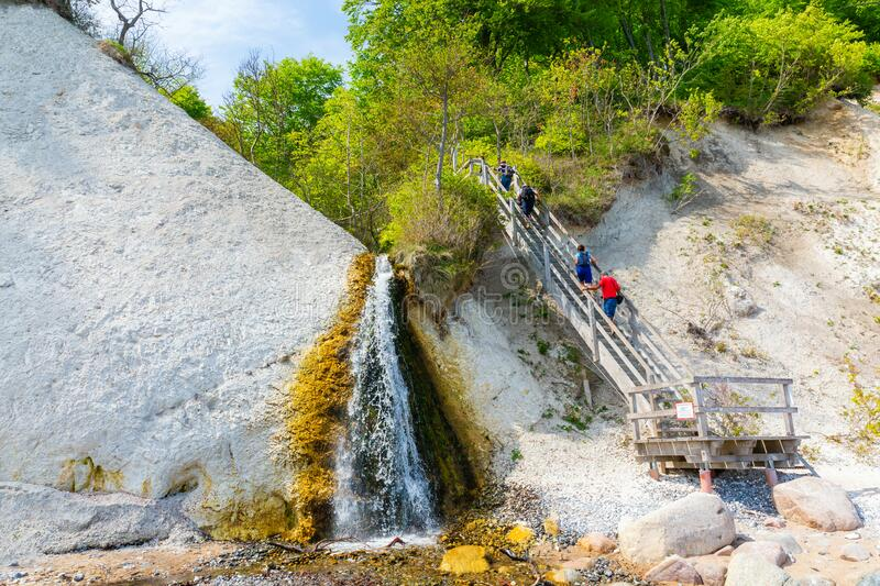 View of the chalk cliffs of Ruegen, Germany, with a waterfall stock photos
