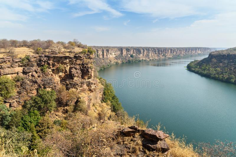 View of Chambal valley river near Garadia Mahadev temple. Kota. India. View of Chambal valley river near Garadia Mahadev temple. Kota. Rajasthan. India stock photos