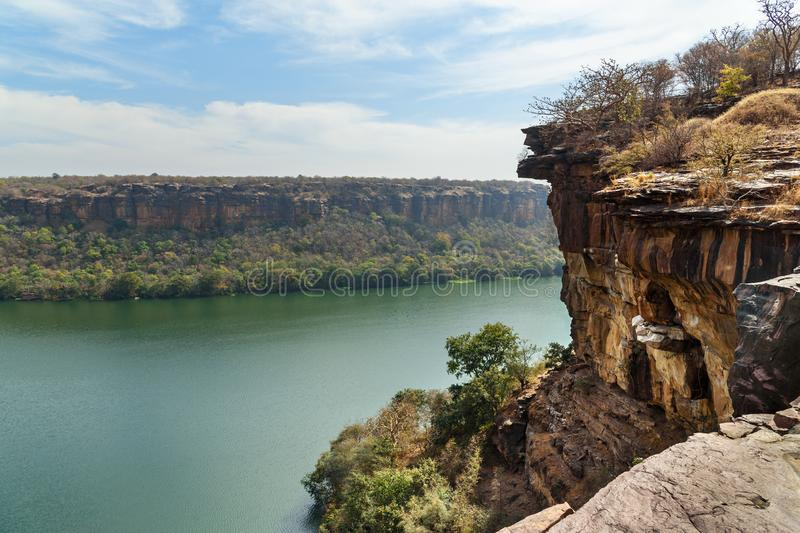View of Chambal valley river near Garadia Mahadev temple. Kota. India. View of Chambal valley river near Garadia Mahadev temple. Kota. Rajasthan. India royalty free stock image