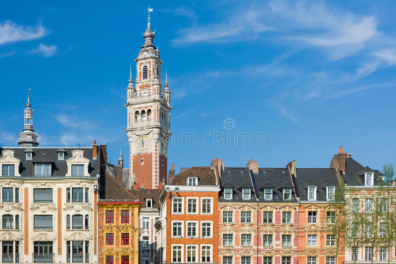 View on chamber of commerce in Lille. Under the blue sky royalty free stock photography