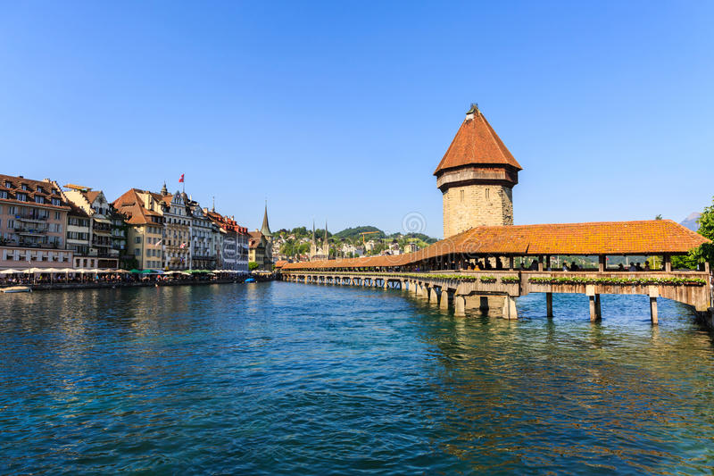 View at the Chapel bridge over Reuss river in Luzern Lucerne. View at the Chapel bridge over Reuss river in Luzern Lucerne, Switzerland stock image