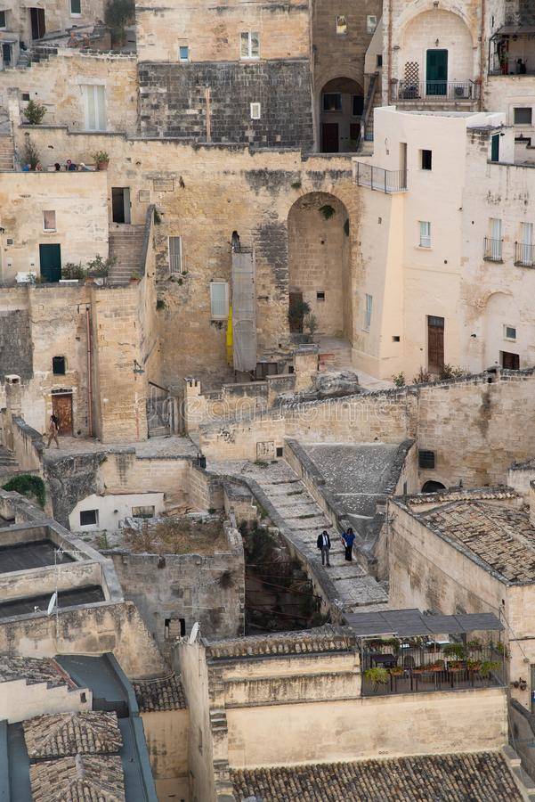 View of the characteristic houses of the ancient stone city of Matera, southern Italy, Unesco heritage city and european capital. Of culture 2019 stock photo