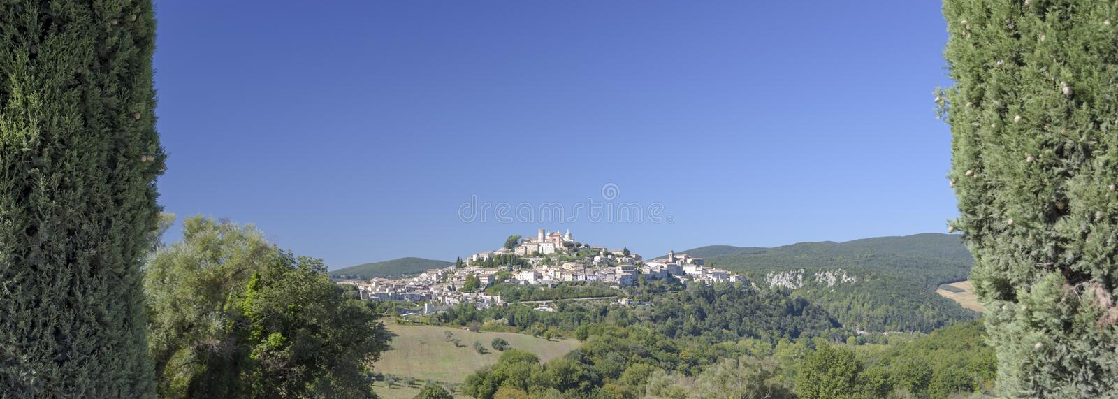 View from the characteristic Italian medieval village on the hill.Umbria, Amelia panorama royalty free stock photo