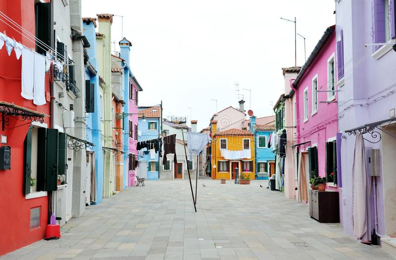 View of a characteristic street in Burano island, Venice, Italy royalty free stock photos
