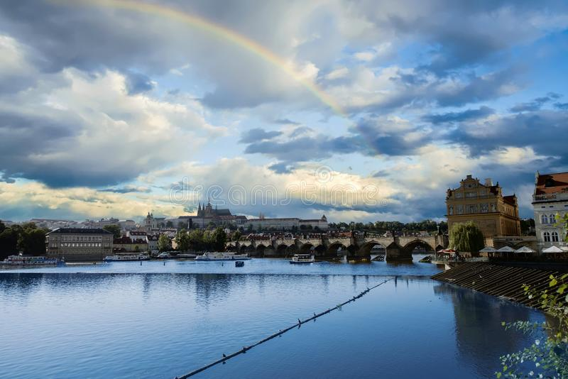Rainbow in the sky over Prague Czechia stock photos