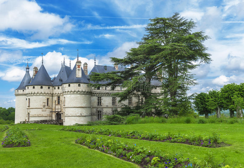 View on chateau Chaumont. In the park of Chaumont castle. Loire valley, France stock photos