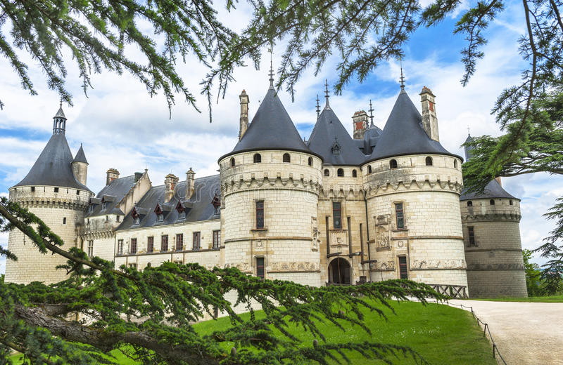 View on chateau Chaumont. In the park of Chaumont castle. Loire valley, France royalty free stock photography